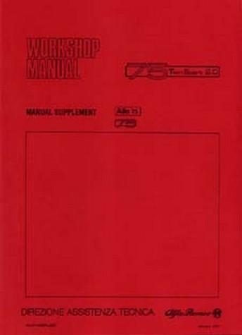 alfa romeo 75 twin spark 1987-1992 workshop manual supplement
